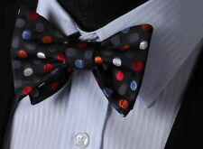 BD3005R Red Blue Polka Dot 100%Silk Men Butterfly Cravat Self Bow Tie bowtie