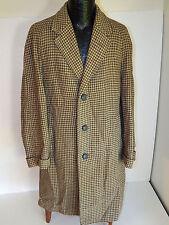 Vtg 50's HARRIS TWEED Men's Beige HOUNDSTOOTH TOP Over Coat TRENCH Jacket