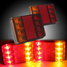 2x 12V 8 LED CARAVAN TRUCK TRAILER STOP REAR TAIL BRAKE LIGHTS INDICATOR LAMP