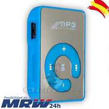 Lector Reproductor Mp3 Player Mini Clip Micro Usb SD Hasta 32 GB Musica Azul