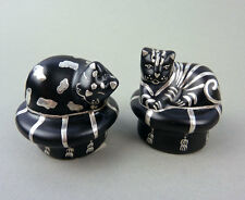 Emilia Castillo Salt & Pepper Shakers-Pottery Black Cat- Pure Silver -Sterling