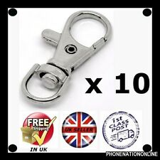 10 x Small Silver tone Lobster Trigger Swivel Clasps for Key ring Hook 37 x 16mm