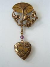 Vintage Victorian Revival Pididdly Links Dangle Heart Locket Brooch parasol Bird