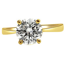 0.22ct Round Yellow/I3 Solitaire Diamond Engagement Ring in 18kt Gold SDRSOL186