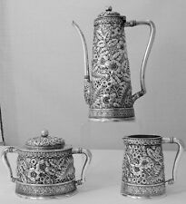 REPOUSSE THREE PIECE TEA SET BY BIGELOW KENNARD & CO. Sterling silver with ferns