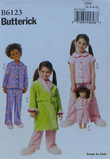 "**SALE** Butterick 6123 PATTERN for Girl's 2-5 & 18"" American Girl DOLL CLOTHES"