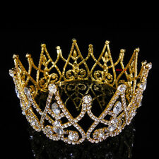 7cm High Sparkling Full Crystal Gold King Crown Wedding Prom Party Pageant