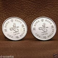 British Hong Kong Crowned Lion Coin Cufflinks, 1 HK Dollar Silver Tone