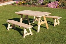 Outdoor 5 Foot Traditional Picnic TABLE ONLY *Unfinished Pine* Amish Made USA