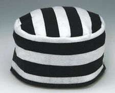 BLACK WHITE STRIPED PRISONER HAT JAIL JAILBIRD INMATE CONVICT COSTUME CAP 20'S