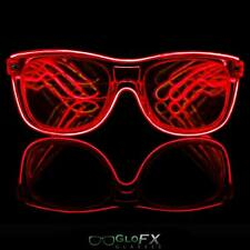 GloFX Red EL Wire Diffraction Glasses Refraction Prism Laser 3D EDM Glasses