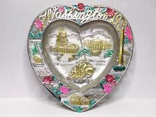 Vintage Washington D.C. With 5 Different Attractions Metal Tin Ashtray-Japan