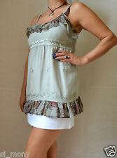 Women Grey Strappy Long Top Frilled Embroidery Size M 10-12