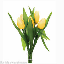 Artificial Yellow Silk Tulips 6 x 35cm/14 Inch Stems