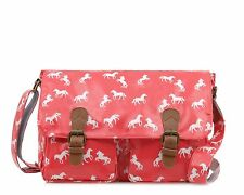 Horse Large crossbody satchel bag PVC coated Oilcloth - PINK