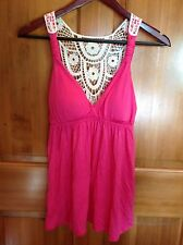 PINK ROSE womens padded cami top shirt TROPICAL PUNCH empire waist crochet SMALL