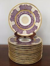 Black Knight ANTOINETTE PURPLE Gold Encrusted Dinner Plates ~ Set of 12