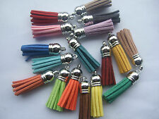 New 10 pcs Mix Color Velvet Tassels Silver Cap Charms Pendants For DIY ACC