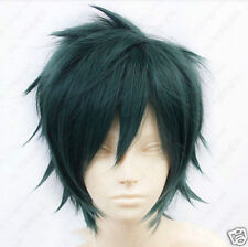 HOT!!!The Devil is a Part-Timer! Mao Sadao Short Dark Green Cosplay Wig + gifts