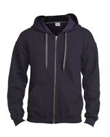 Gildan Heavy Blend Adult Vintage Full Zip Hooded Sweatshirt Mens Hoody Top 18700