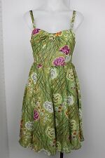 Anthropologie Girls from Savoy Silk Pin Up Floral Ruched Swing Flare Dress 2