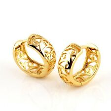 18k Yellow Gold Filled Charms Earrings 14mm Womens Hoop Huggie 6mm Fashion Gift