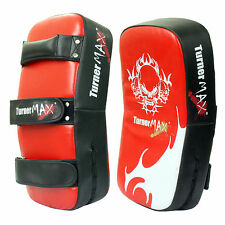 TurnerMAX Thai Boxing Punch Pad Kick Arm Red Black Leather Curved Single