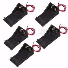 5x Single Slot DC 9V Volt Battery Clip Holder Box Case With Wire Lead Ends DIY