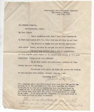 WWI Letter from Aviation School Squadron San Antonio TX to Fort McDowell CA