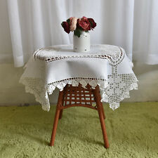 Vintage Hand Crochet Insertion Embroidery White Cotton Square Table Cloth B