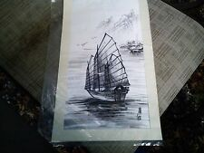 Vintage Chinese Junk Painting Water colors Black & White 18 X 10