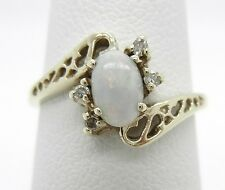 10K Yellow Gold Genuine Opal And Diamond Ring~Size 4~Dainty!