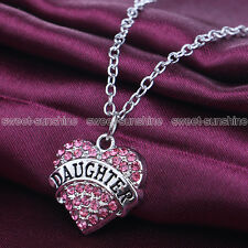 Family Gift Silver Pink Crystal Heart Charm Pendant Necklace Chain For Daughter