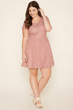 Forever 21 Plus Size Short Lace Dress dusty pink floral lace up back 0X NWT