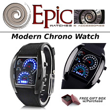 EPIC Modern Chrono Blue Flash Dial Dot Matrix LED Racing Watch