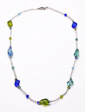 CHIC SUMMER NECKLACE SPARKLY APPLE GREEN/TURQUOISE/SAPPHIRE BLUE BEADS (ZX32)