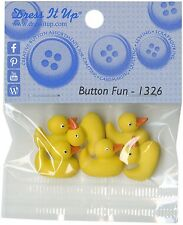 Yellow Ducky Duck Buttons Dress It Up (6 ducks per pkg) Button Fun #1236