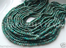 """13"""" strand CHRYSOCOLLA faceted gem stone rondelle beads 4mm blue green"""