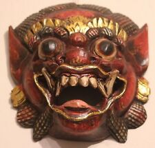 quality hand carved Painted Balinese red Barong wall mask leader of good spirits