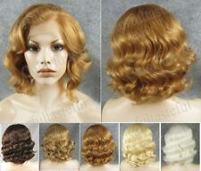 "11""Front lace blonde golden white black brown short wavy synthetic wig for women"