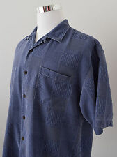 TOMMY BAHAMA Men's 100% Silk Shirt Blue Plaid Button Down Short Sleeve Size L