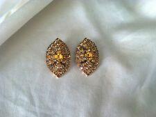 La Rel Vintage Topaz Rhinestone Diamond Shape Clip Earrings