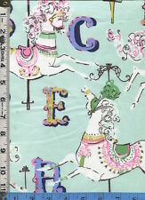 Fabric Dear Stella Vintage retro CAROUSEL HORSES on mint green circus BTHY