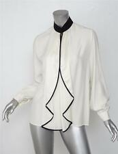 UNCONDITIONAL $495 Cream+Black Silk Ruffle Long-Sleeve Blouse Top Shirt XS NEW