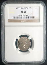 South Africa 1955 6 Pence 6p 6d Proof PF66 - Very High Grade NGC