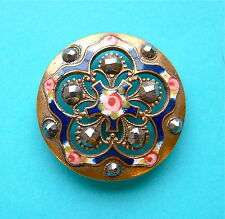 Superior Antique French Pierced Champlevé Enamel Buttons With Marcasites