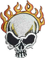 Iron On/ Sew On Embroidered Patch Badge Rebel Skull and Flames Face Head On