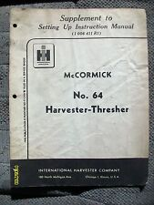 Original Vintage 1953? IH McCormick Deering Harvester Thresher No. 64 Manual