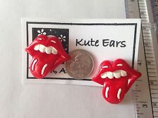 """Resin 1"""" Large Rolling Stones Type Lips and Tongue Stud Earrings - Free Shipping"""
