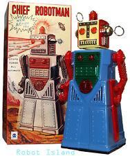 Chief Robotman Tin Toy Robot Blue Battery Operated